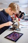 Student using microscope in class Stock Photo - Premium Royalty-Free, Artist: Uwe Umsttter, Code: 649-06489954