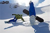 sports and snowboarding - Snowboarders on snowy slope Stock Photo - Premium Royalty-Freenull, Code: 649-06490037