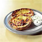Stuffed Potato Skins with Sour Cream Stock Photo - Premium Rights-Managed, Artist: foodanddrinkphotos, Code: 824-06491408