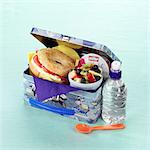 Children's lunch box with hard-boiled egg and tomato bagel and fruit salad Stock Photo - Premium Rights-Managed, Artist: foodanddrinkphotos, Code: 824-06491474
