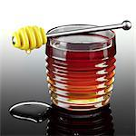 Honey Dipper Resting on a Jar of Honey Stock Photo - Premium Rights-Managed, Artist: foodanddrinkphotos, Code: 824-06491777