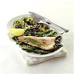 Pan Fried Trout with Olive and Cucumber Salad Stock Photo - Premium Rights-Managed, Artist: foodanddrinkphotos, Code: 824-06491945