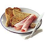 Sliced Ham with Toast and a Dollop of Wholegrain Mustard Stock Photo - Premium Rights-Managed, Artist: foodanddrinkphotos, Code: 824-06491947