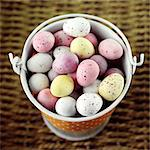 Chocolate mini eggs in an enamel pail Stock Photo - Premium Rights-Managed, Artist: foodanddrinkphotos, Code: 824-06492025