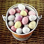 Chocolate mini eggs in an enamel pail Stock Photo - Premium Rights-Managed, Artist: foodanddrinkphotos, Code: 824-06492026