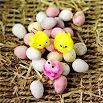 Multicoloured mini eggs with decorative Easter chicks Stock Photo - Premium Rights-Managed, Artist: foodanddrinkphotos, Code: 824-06492032