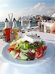 Greek salad and al fresco dining scene on the Greek island of Mykonos, Greece Stock Photo - Premium Rights-Managed, Artist: foodanddrinkphotos, Code: 824-06492421