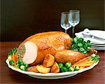 Cooked Turkey Dinner with Vegetables Stock Photo - Premium Rights-Managed, Artist: foodanddrinkphotos, Code: 824-06492786