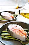 Drizzling olive oil on a salmon steak and asparagus Stock Photo - Premium Rights-Managed, Artist: foodanddrinkphotos, Code: 824-06493614