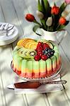 An ice cream cake with fresh fruit Stock Photo - Premium Royalty-Freenull, Code: 659-06493905