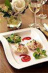 Crab cakes with plum sauce Stock Photo - Premium Royalty-Free, Artist: ableimages, Code: 659-06493929