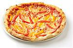 A Pizza Margherita topped with peppers Stock Photo - Premium Royalty-Freenull, Code: 659-06494224