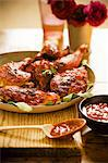 Roasted Chicken with Spicy Barbecue Sauce Stock Photo - Premium Royalty-Freenull, Code: 659-06494331