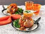 Jacket potatoes with carrot chilli Stock Photo - Premium Royalty-Free, Artist: Cultura RM, Code: 659-06494655