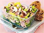 Mixed leaf salad with sausages, mushrooms and avocados in a plastic container Stock Photo - Premium Royalty-Freenull, Code: 659-06494781