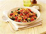 Spaghetti with tomatoes, bacon and mushrooms Stock Photo - Premium Royalty-Freenull, Code: 659-06494829