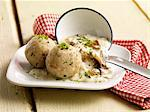 Bread dumplings with a chanterelle mushroom sauce Stock Photo - Premium Royalty-Free, Artist: AWL Images, Code: 659-06495066