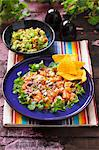 Ceviche as a main course on a blue plate with coriander and tortilla chips and a bowl of guacamole in the background Stock Photo - Premium Royalty-Free, Artist: Aurora Photos, Code: 659-06495076