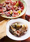 Roasted Artichokes in a Bowl; Prosciutto and Figs in a Bowl Stock Photo - Premium Royalty-Freenull, Code: 659-06495105