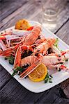Langoustines with Lemon on a Platter Stock Photo - Premium Royalty-Free, Artist: Cultura RM, Code: 659-06495111