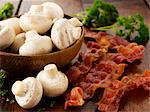 Mushrooms and fried bacon Stock Photo - Premium Royalty-Freenull, Code: 659-06495216