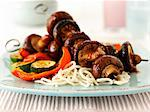 Spicy mushrooms kebabs with pasta and vegetables Stock Photo - Premium Royalty-Free, Artist: Photocuisine, Code: 659-06495234