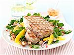 Tuna fish steak with a watercress salad Stock Photo - Premium Royalty-Free, Artist: Photocuisine, Code: 659-06495258