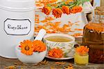Marigold tea, marigolds, creme and oil Stock Photo - Premium Royalty-Free, Artist: CulturaRM, Code: 659-06495755