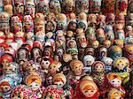 Close-up of traditional Russian nested dolls displ