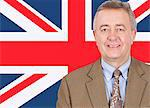 Portrait of smiling middle-aged businessman over British flag Stock Photo - Premium Royalty-Free, Artist: Ikonica, Code: 693-06497690