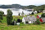 Harbour and farmhouses on Island of Borgundoya, Hardangerfjord, Norway, Scandinavia, Europe Stock Photo - Premium Rights-Managed, Artist: Robert Harding Images, Code: 841-06499865