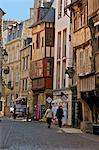 Medieval half timbered houses in streets of old town, Dinan, Brittany, France, Europe Stock Photo - Premium Rights-Managed, Artist: Robert Harding Images, Code: 841-06499991