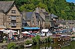 Cafes and restaurants, Dinan harbour beside the Rance River, Dinan, Brittany, France, Europe Stock Photo - Premium Rights-Managed, Artist: Robert Harding Images, Code: 841-06500015