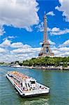 Bateaux Mouches tour boat on River Seine passing the Eiffel Tower, Paris, France, Europe Stock Photo - Premium Rights-Managed, Artist: Robert Harding Images, Code: 841-06500045