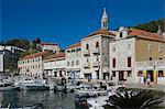 Promenade cafes by the old harbour in the medieval city of Hvar, on the island of Hvar, Dalmatia, Croatia, Europe Stock Photo - Premium Rights-Managed, Artist: Robert Harding Images, Code: 841-06500324