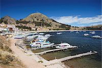 Boats moored in bay, Copacabana, Lake Titicaca, Bolivia, South America Stock Photo - Premium Rights-Managednull, Code: 841-06501769