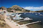 Boats moored in bay, Copacabana, Lake Titicaca, Bolivia, South America Stock Photo - Premium Rights-Managed, Artist: Robert Harding Images, Code: 841-06501769