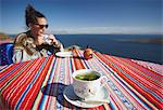 Cocoa leaf tea at outdoor cafe on Isla del Sol (Island of the Sun), Lake Titicaca, Bolivia, South America Stock Photo - Premium Rights-Managed, Artist: Robert Harding Images, Code: 841-06501790