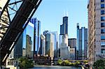 Chicago River and towers including the Willis Tower, formerly Sears Tower, with a disused raised rail bridge in the foreground, Chicago, Illinois, United States of America, North America Stock Photo - Premium Rights-Managed, Artist: Robert Harding Images, Code: 841-06502051