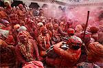 Barsana villagers celebrating Holi in Nandgaon, Uttar Pradesh, India, Asia Stock Photo - Premium Rights-Managed, Artist: Robert Harding Images, Code: 841-06502147