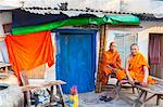 Buddhist monks by blue door, Phnom Penh, Cambodia, Indochina, Southeast Asia, Asia Stock Photo - Premium Rights-Managed, Artist: Robert Harding Images, Code: 841-06502579