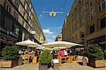 People sitting al fresco under parasols outside restaurant on pedestrianised shopping street, Spitalerstrasse, Hamburg, Germany, Europe Stock Photo - Premium Rights-Managed, Artist: Robert Harding Images, Code: 841-06502606