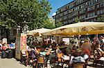 People sitting al fresco at cafe with parasols on Moenckebergstrasse in the shopping heart of the city centre, Hamburg, Germany, Europe Stock Photo - Premium Rights-Managed, Artist: Robert Harding Images, Code: 841-06502609