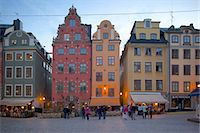stockholm - Stortorget Square cafes at dusk, Gamla Stan, Stockholm, Sweden, Scandinavia, Europe Stock Photo - Premium Rights-Managednull, Code: 841-06502826