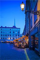 stockholm - Stortorget Square cafes at dusk, Gamla Stan, Stockholm, Sweden, Scandinavia, Europe Stock Photo - Premium Rights-Managednull, Code: 841-06502830