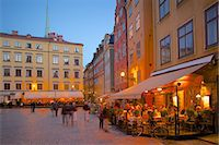 stockholm - Stortorget Square cafes at dusk, Gamla Stan, Stockholm, Sweden, Scandinavia, Europe Stock Photo - Premium Rights-Managednull, Code: 841-06502832
