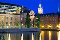 stockholm - Riksdagshuset at night, Stockholm, Sweden, Scandinavia, Europe Stock Photo - Premium Rights-Managednull, Code: 841-06502845