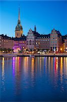 stockholm - Gamla Stan and Riddarholmen with spire of Riddarholmskyrkan (Riddarholmen Church) at dusk, Stockholm, Sweden, Scandinavia, Europe Stock Photo - Premium Rights-Managednull, Code: 841-06502885