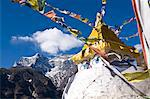 Prayer flags and Buddhist stupa, Namche Bazaar, Solu Khumbu Region, Nepal, Himalayas, Asia Stock Photo - Premium Rights-Managed, Artist: Robert Harding Images, Code: 841-06503113
