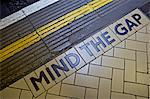 MIND THE GAP sign on platform edge, London Underground, London, England, United Kingdom, Europe Stock Photo - Premium Rights-Managed, Artist: Robert Harding Images, Code: 841-06503352